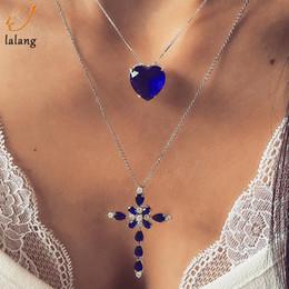 Ciondolo croce cristallo blu online-Collana a ciondolo a croce a cuore in cristallo blu multistrato per donna, strass, gioielli in oro, choker, san valentino
