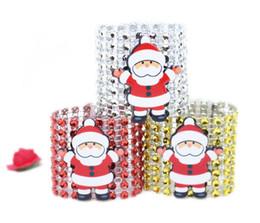 decorações vermelhas em prata de mesa de natal Desconto Guardanapo de natal Anéis de Papai Noel Diamante para Festa Guardanapos Titulares Banquete Jantar Decoração de Mesa de Natal Ouro Prata Vermelho