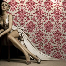Wholesale Red Wallpaper Rolls - Quality Designer 3D Damask Red Velvet Fine Flocked Fabric Wallpaper Roll sound-absorbing Living Room Wall Covering Classic