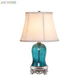 Wholesale Mediterranean Bedside Lamps - JW Mediterranean Modern Creative Blue Glass Table Lamp for Living Room Bedroom Bedside Lamp Reading Home Lighting Fixtures Decor