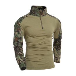 Wholesale camouflage shirt long sleeve - Camouflage T-Shirt Military Army Combat T Shirt Men Long Sleeve US RU Soldiers Tactical T Shirt Multicam Camo Tops