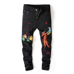 Canada 2018 Dernière Jeune Homme Européenne Style Américain Phoenix Broderie De Mode Pantalon Denim Jeans Slim Pantalon Jeans Noir Hommes supplier american young style Offre