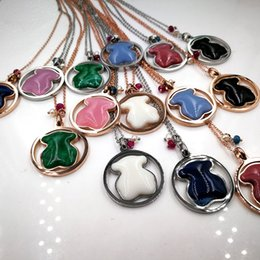 Wholesale unique gold pendants - New Mixed 14 colors Titanium Steel Panda round natural gems stone Pendant bear necklace New Unique design jewelry for Women El oso de collar