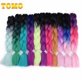 Wholesale burgundy hair 99j - TOMO 24Inch Ombre Synthetic Jumpo Box Braids Crochet Braiding Hair Extensions 100g High Temperature Kanekalon Ombre Xpression Braidding Hair