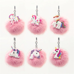 Wholesale Charms Carabiner - Super Kawaii Unicorn Pvc Pompom Key Buckle Cartoon Emoji Plush Ball Key Ring Kids Favor Cute Simulation Fur Keys Ring Charms 2hy Z