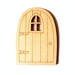 Wholesale wood embellishments - Wooden Fairy Garden Mini Door Craft Embellishments Decoration DIY Painting Decoration Scrapbooking Hobby Gift Free Shipping ZA5848
