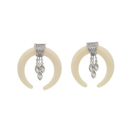 538516bf5 2018 Top design exaggerate white ox horn dangle marquise cubic zirconia  earring elegant fashion crescent moon horn cz earring for women girl