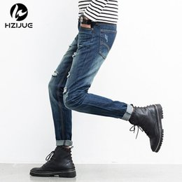 Wholesale New Trendy Clothes - HZIJUE 2017 New Arrival Men Jean Ripped Broken Man Hip Hop Brand Clothing Straight Slim Fit Tapered Light Blue Trendy Large size