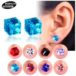 Falsi orecchini online-Womens Water Cube Health Care Strong Magnetic Ear Stud Set Orecchini non piercing Orecchini falsi Regalo per amante della ragazza Gioielli # S