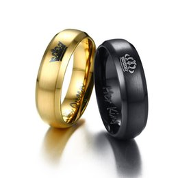 Wholesale 14k Gold Couple Rings - Romantic Valentines Crown Simple Exquisite Christmas Gift Wedding Accessories King Anniversary Titanium Steel Queen Couple Engagement Ring