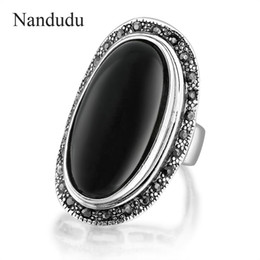 Wholesale Rings Marcasite - Nandudu HOT Vintage Jewelry Oval Black And Black Enamel Ring For Women 925 Silver Marcasite Crystal Gift Free Shipping R1656