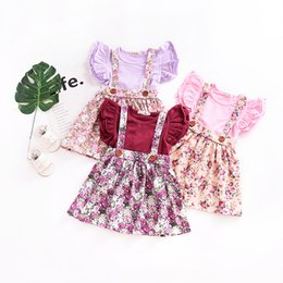 Wholesale Vintage Baby Clothing - INS Baby girl clothing Suspender skirt Overalls Back bow Cute Mini skirts Vintage Florals Print Buttons 100%cotton 2018 Spring summer