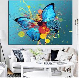 arte abstrata da lona da borboleta Desconto Grafite Borboletas Fluttering Criativo Pintura Abstrata Da Lona na Lona Poster Parede Pop Art para Sala Cuadros Decoração