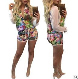 Wholesale Fly Sportswear - Summer women shorts suit Digital Print Long sleeve sunscreen jacket shorts two piece set Fashion Sportswear Casual Nightclub Clothes