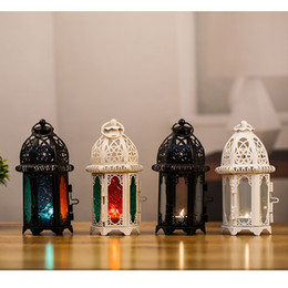 Wholesale Iron Lanterns For Weddings - New Arrival White Black Morocco Iron Lantern Candle Holder For Wedding Favors Gift Home Decorations Supplies