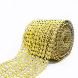10 Yards / lot 16 Righe Delicato Shiny Girasole Diamond Mesh Bling Crystal Ribbon Trim Festa di nozze Accessori decorativi per la casa fai da te da posate gialle fornitori