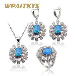 d83e1ba39 Australia Blue Opal White Cubic Zirconia Silver Color Jewelry Sets For Women  Necklace Pendant Drop Earrings Rings Gift Box