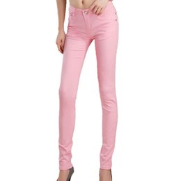 Wholesale Candy Colored Jeans - Newest Summer Pink Female Stretch Candy Colored Pencil Women's Pants Sexy Elastic Cotton Jeans Pants Denim Trousers XL