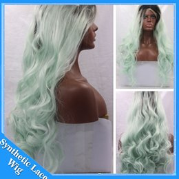 Wholesale Mint Green Tie - Black Ombre Mint Green Hand Tied Synthetic Lace Front Wigs Glueless kanekalon Heat Resistant Loose Body Wave Lace Front Cosplay Party Wigs