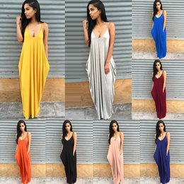 Wholesale 3t Holiday Dresses - Womne v neck Beach Holiday Casual Summer Sundress Strapless V-neck Sleeveless Long Maxi Dresses 8 color LJJK899