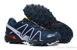 Wholesale Country Cycle - 2017 Men Speedcross 3 Salo*** Speed Cross III Deep Blue Balck Grey and black Cross country shoes Training shoes Running shoes Sneakers