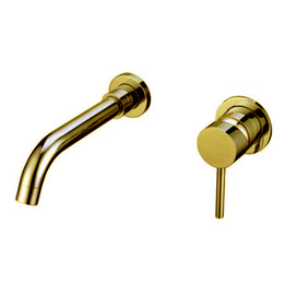Wholesale Faucet Levers - Free shipping Single Lever Wall Mounted bathroom lavatory Vessel basin Sink Faucet Mixer tap Gold color