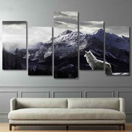 2019 pinturas de montaña Impresiones HD Lienzo Arte de la pared Sala de estar Decoración para el hogar Fotos 5 Unidades Snow Mountain Plateau Lobo Pinturas Animal Posters marco rebajas pinturas de montaña