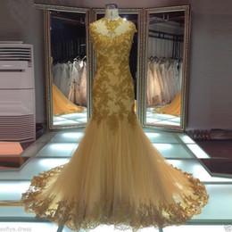 ligne de robe mère enfant Promotion Robes de soirée appliques nouvelle or sirène robes de soirée de bal personnalisé