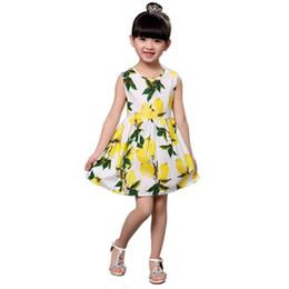 Canada Enfants filles robe d'été sans manches gilet robe de citron pour les filles blanc bleu Offre