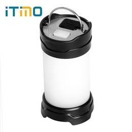 Wholesale red lantern battery - iTimo Portable Lanterns USB Recharge 7 Modes 18650 Battery Power Flash LED Outdoor Power Bank White Red Camping Lamp Light