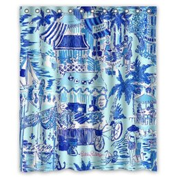 "Занавески для душа онлайн-Lilly Pulitzer Summer Prints Blue Custom Shower Curtain 60"" x 72"""