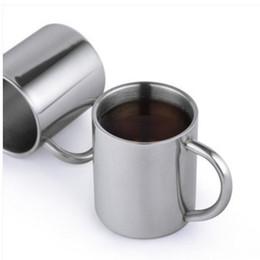 Personalize canecas on-line-Caneca De Café Isolada 304 Aço Inoxidável Copo Bebendo Caneca De Metal De Vácuo Caneca de Chá Logotipo Personalizado Apoiado