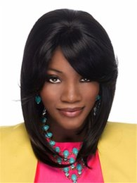 Wholesale Bob Heating - black bob short hair wig with side bang Heat resistant fiber synthetic wig capless fashion wig for women