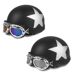 Wholesale half helmet goggles - Star Pattern Open Face Motorcycle Half Helmet for 54 - 59cm Head Circumference with Goggles & Visor Motocross Mask NEW