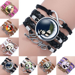 Panda charme armbänder online-Mode Glas Cabochon Anhänger Unendlichkeit Liebe Leder Charme Doppel Herz Armband für neue Panda Schmuck Glas Wrap Armband 320049