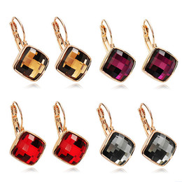Wholesale Square Chandelier Crystals - Colourful Earrings Rose Gold Color Simple Square Sections Gray Champagne Purple Red Crystal Woman Drop Earring Wholesale