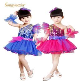 Wholesale tutus latin - SONGYUEXIA Children Pattern Latin dancewear Kindergarten Stage Costumes kid Modern dance Costumes K'd Sequin Tutu Skirt100-160cm
