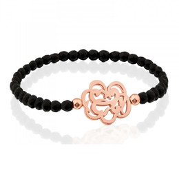 Wholesale Coloured Charms - 2018 New black agate beaded bracelet Bear flowery Stainless Steel Charm Jewelry Never Fade For Women 2 Colours Gift Brazalete pulseras oso