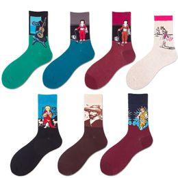 2018 Mens Womens Pamuk Karikatür Çorap Sanat Baskılı Renkli Ünlü Boyama Moda Fantezi Rahat Çorap Hediye cheap painting socks nereden boyama çorapları tedarikçiler