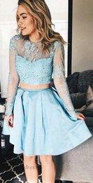 Длинное платье клуба сквозь тюль онлайн-Светло-синий две части Homecoming платья с иллюзией длинными рукавами блестками линия атласная тюль Sheer шеи See Through платья партии мини