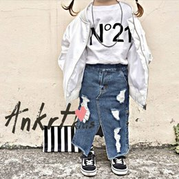 Wholesale Embroidered Baby Clothes - Vieeoease Girls Skirt Hole INS Baby Flare Clothing 2018 Summer Fashion Denim Fashion Irregular Skirt EE-224