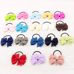 Wholesale Kids Bow Hair Band - Fashion Cute Kids Ribbon Bow Elastic Hair Bands Sweet Hair Rope Hair Accessories Gift 20 Colors