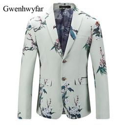 Wholesale Modern Suits For Men - 2018 Hot Men's Slim Fit Suit Blazer Prom Dress Printed Plum Blossom Tuxedo Jacket Gentlemen Style Modern Blazer For Men XS-3XL