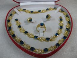 Colar de pulseira de safira azul on-line-Conjunto de anel de pulseira de safira 14k amarelo ouro azul