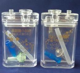 Flache wasserflaschen großhandel online-Flache Art Acrylwasserflasche Großhandelsbongs Öl-Brenner-Rohre Wasser-Rohr-Glasrohr-Öl-Anlagen, die, freies Verschiffen rauchen