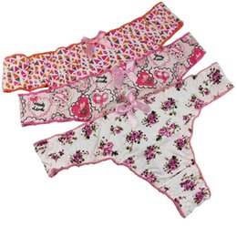 Wholesale Cotton Flower Print Underwear - 3pcs lot Underwear Women Sexy Panties Flower Print Cotton Briefs Thongs And G String Low-Rise Underpants Weekly Underwear
