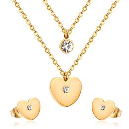 LUXUSTEEL Sistemas de la joyería nupcial Acero inoxidable Oro / Color plata Colgantes en forma de corazón Collar de cadena doble Pendientes Sets Joyería desde fabricantes