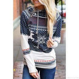Wholesale Women S Leopard Sweatshirt Hoodies - Fashion Hooded Christmas Sweatshirt Harajuku Casual Snowflake Deer Printed Women Hoodies Moleton White Pullover