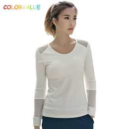 Wholesale long sleeve padded shirts - Colorvalue Breathable Mesh Sport Yoga Jersey Women Long Sleeve Fitness Exercise Shirts Quick Dry Workout Top with Removable Pads