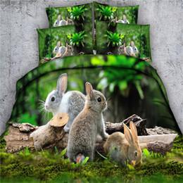 Couette reine lapin en Ligne-Livraison gratuite 3d animaux cerf lapin chien perroquet lion literie 1 housse de couette 2 taies d'oreiller twin / full / queen / king / super king size